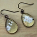 teardrop earrings - golden white blossoms