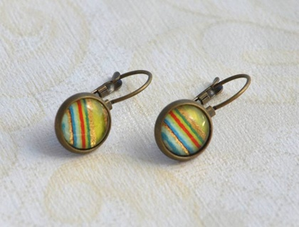 lime stripes lever back drop earring
