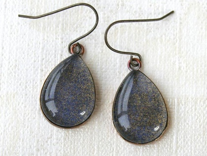 teardrop earrings - midnight blue