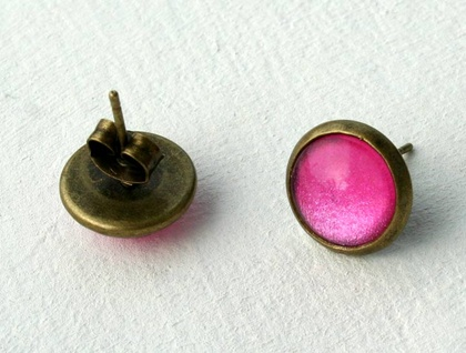 dainty stud earrings - Hot pink