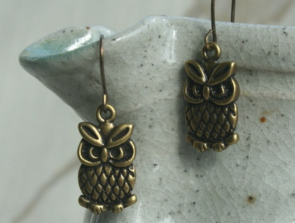 grumpy owl earrings