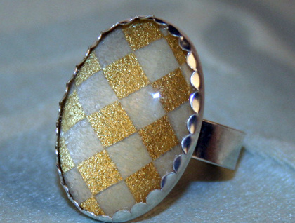 gold checkers - ring