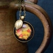 folk floral 30mm shimmery autumn pendant