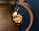 folk floral 30mm shimmery autumn pendant