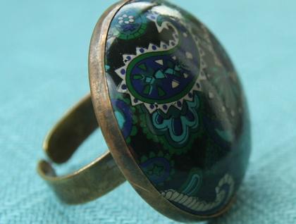 midnight paisley vintage ring