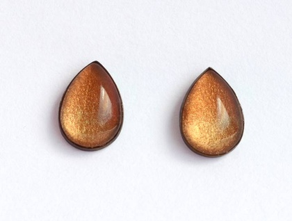 rust gold dipped raindrop studs