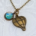 dainty charm pendant - hot air balloon and turquoise paisley