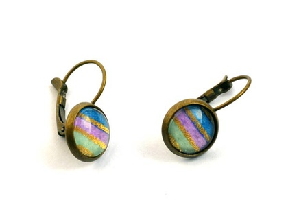 lilac, blueberry and mint - leverback earrings