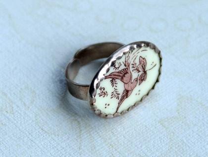 brown bird porcelain vintage sterling ring