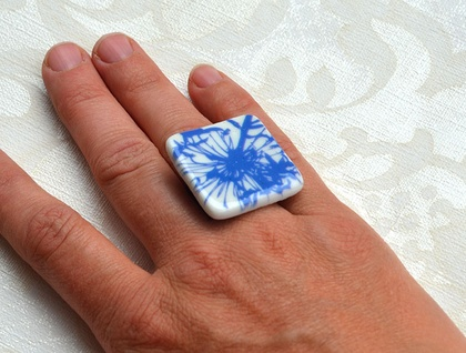 porcelain square floral ring