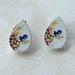wooden teardrop stud earrings - vintage bird print