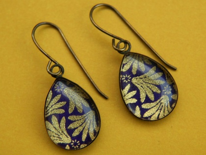 teardrop earrings - purple and gold