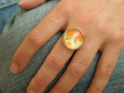 SALE - lily glass dome ring