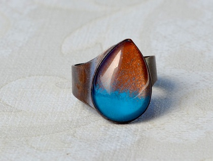 Ombre raindrop ring - teal and rust