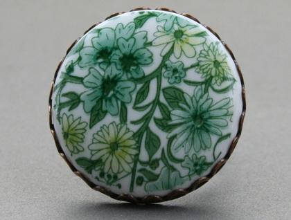 garden ring - green vintage floral
