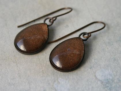 teardrop earrings -chocolate