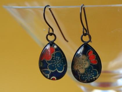 teardrop earrings -midnight blooms