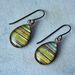 teardrop earrings -lime stripes
