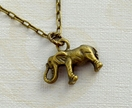 dainty brass elephant charm necklace pendant