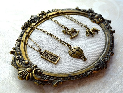 dainty brass retro mixed tape charm necklace pendant