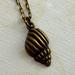 dainty brass shell charm necklace pendant