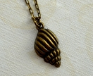 dainty brass shell charm necklace pendant
