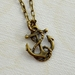 dainty brass anchor charm necklace pendant