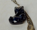 Black Obsidian carved fox pendant with chain tassel