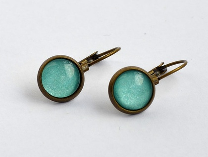 aqua glass dome earrings