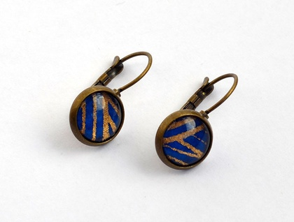 leverback drop earrings - blue and gold waves