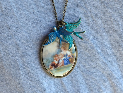 victorian style image cameo decal pendant with two sparrows