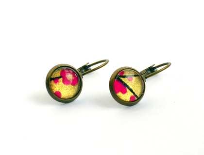 fushia blooms lever back drop earring