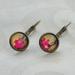 fushia blooms lever back drop earring