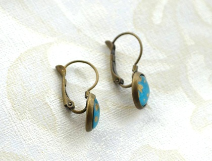 bubble dome leverback earrings - teal and gold flower