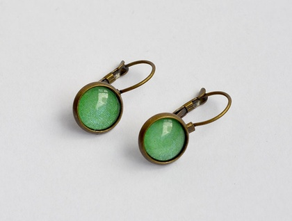 bright green lever back drop earring