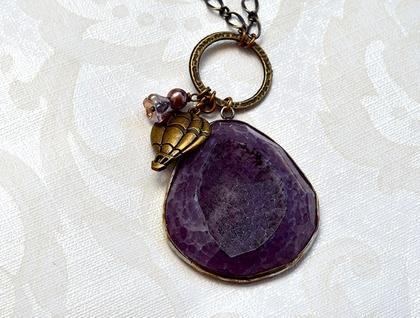 purple druzy quartz pendant