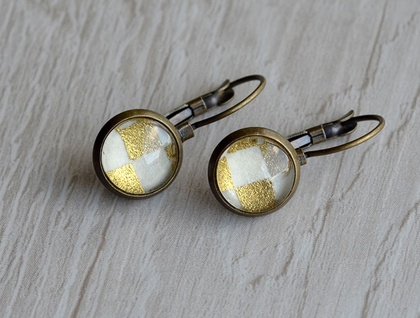 gold checker lever back drop earring
