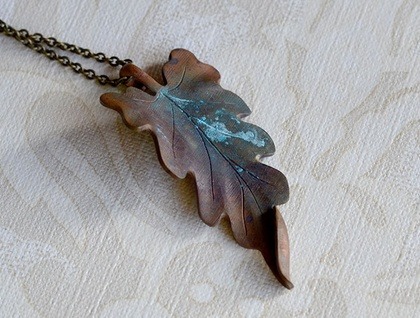 chunky large copper leaf pendant
