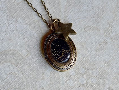 starry night locket - SALE