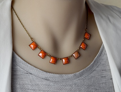 7 square link bunting necklace - orange