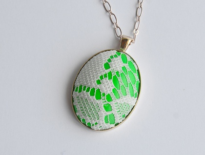 neon and lace pendant - green