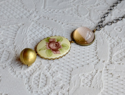 triple drop pendant - vintage rose - globe locket - and pale pink gold dipped dome.