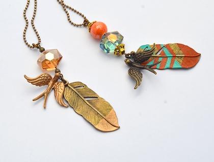 wild and free - boho bird rose quartz gemstone drop necklace