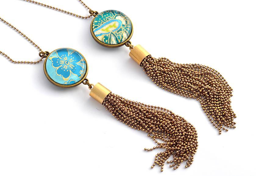 tassel pendant  - turquoise double sided drop