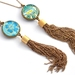 double sided chain tassel pendant - turquoise paisley