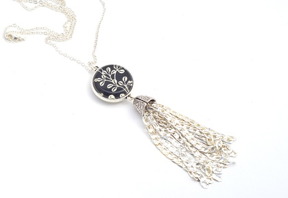 tassel pendant from ball chain  - shimmering black and white double sided drop