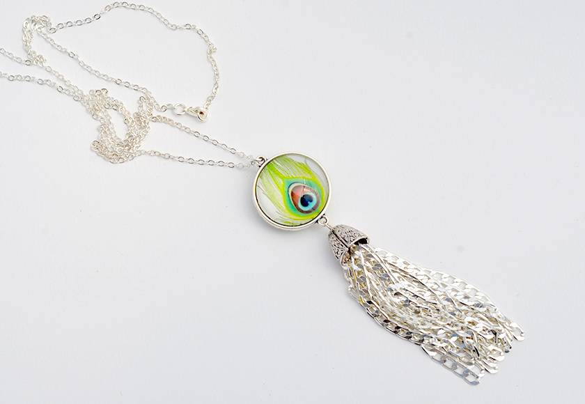 tassel pendant   - shimmering peacock with chunky silver chain tassel