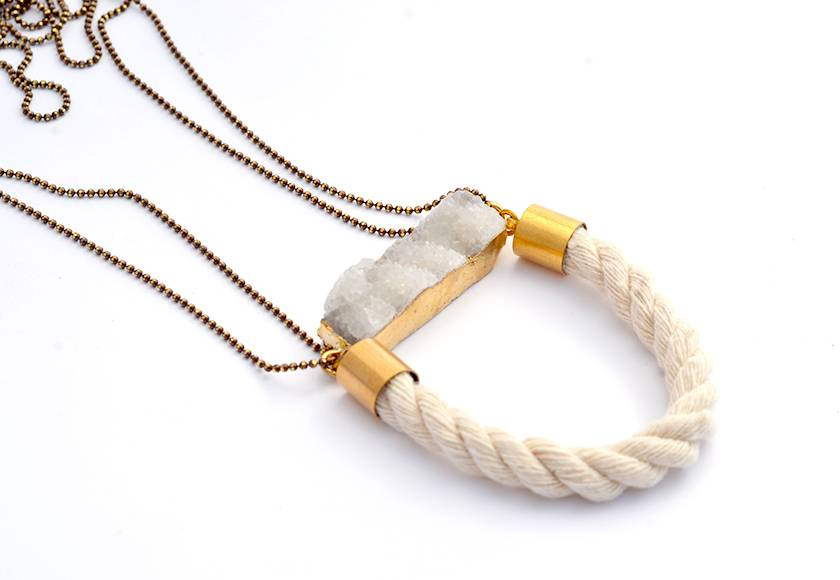 druzy bar with rope necklace - original statement piece.