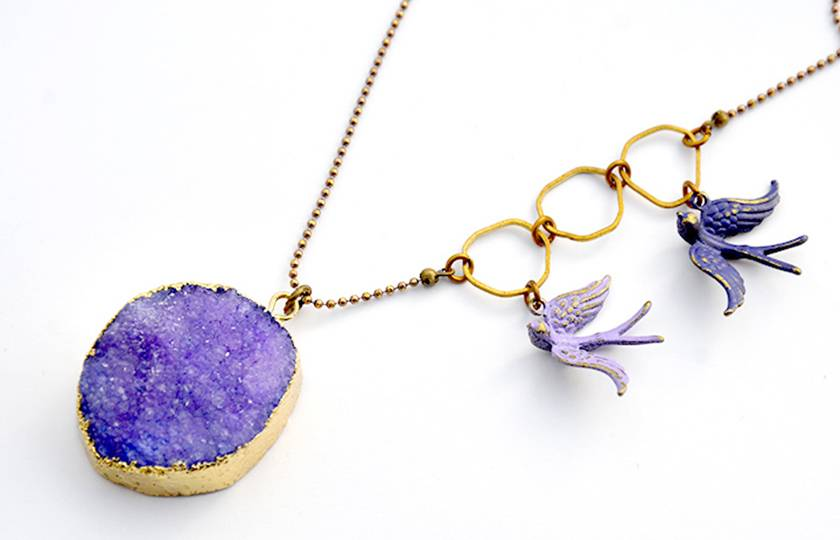 purple agate druzy pendant with sparrows