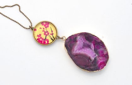 double sided geode agate druzy double drop pendant - fuschia